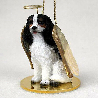 CAVALIER KING CHARLES (TRI) ANGEL DOG CHRISTMAS ORNAMENT HOLIDAY Figurine Statue