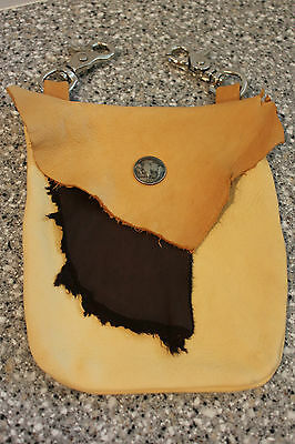 Beautiful Hand Made Leather Clip On Belt Loop Pouch Purse Buffalo Nickel Fast Sh
