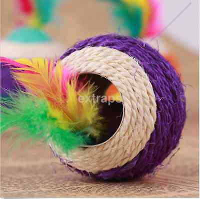 New Sisal Rope Feather Ball Teaser Play Scratch Chewing Toy For Cat Pet US