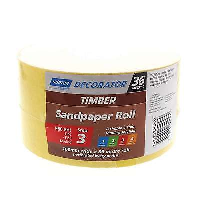 Sandpaper 80 Grit Timber Surfaces Fine 100mm x 36m Perforated Roll Norton