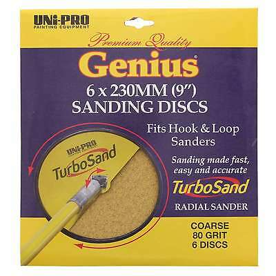 Sanding Discs 80 Grit TurboSand 6 x 230mm (9 Inch) Coarse Unipro