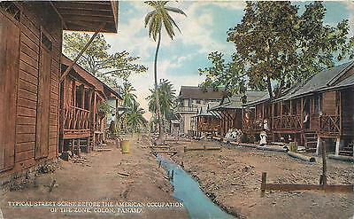 COLON.  PANAMA   STREET SCENE Before American Occupation  c1910s Postcard