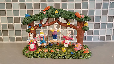 Easter Bunnies on Tree Swings Resin Figurine Decoration Spring Holiday Decor