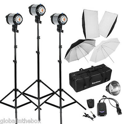 Photography Strob Light Background Stand 900W Photo Studio Flash Lighting Kit UK