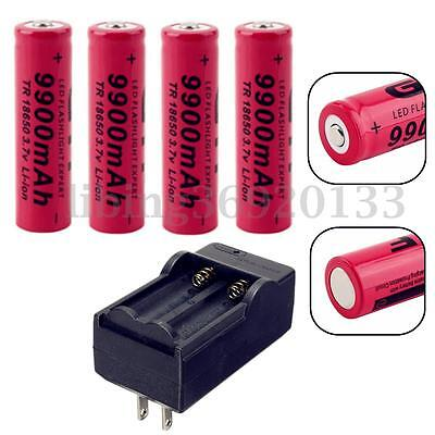 4x 9900mAh 18650 3.7V Rechargeable Pile Li-ion Battery + 18650 Chargeur Neuf
