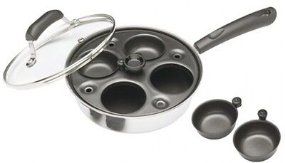 Kitchen Craft Induction Carbon Steel 4 Hole Egg Poacher Pan and Cups FREE P and