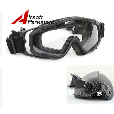 Tactical Paintball Goggle Glasses for Helmet with Side Rails 2pcs Lens Black