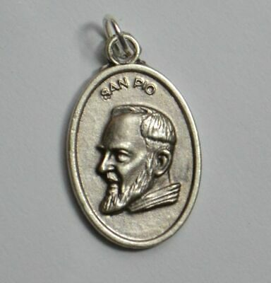PADRE PIO (SAN PIO) Medal Pendant, SILVER TONE, 22mm X 15mm, MADE IN ITALY