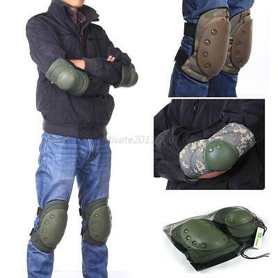 Adjustable Airsoft Tactical Combat Protective Knee + Elbow Pad Skate Knee Pads