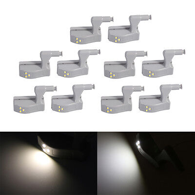 10x Auto-Induction Cabinet Hinge Attached LED Lights For Kitchen Wardrobe Closet
