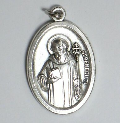 SAINT BENEDICTI (ST BENEDICT) Medal Pendant, SILVER TONE, 22mm X 15mm, MADE IN I