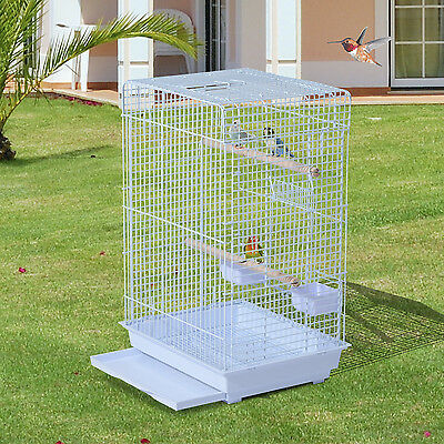 PawHut Bird Cage Tray Parrot Finch Play House  3 Doors Feeder Perch Stand White