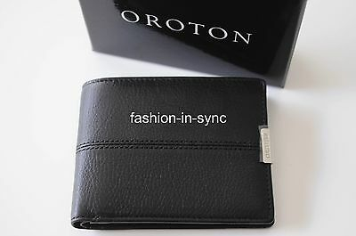 OROTON Austere 12 CC Black Leather Men Wallet New w/ Box RRP $195