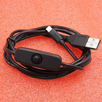 USB to Micro USB with ON/OFF Button Switch Charger Power Cable for Raspberry Pi