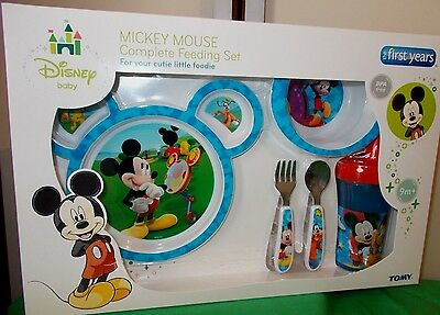 Disney Mickey Mouse Feeding Set - plate, sippy cup, bowl, cutlery BPA Free