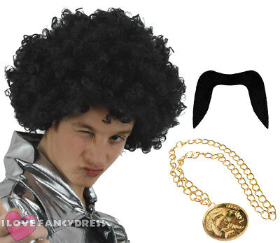 Mens 70S Black Afro Wig Moustache And Medallion Necklace Fancy Dress Costume