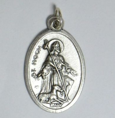 SAINT ROCH (or ROCCO) Medal Pendant, SILVER TONE, 22mm X 15mm, MADE IN ITALY