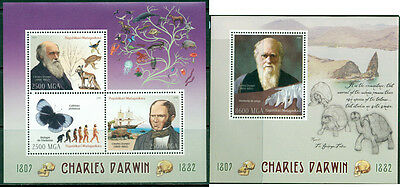 Charles Darwin Science Prehistoric Butterflies Turtles Madagascar MNH stamps set