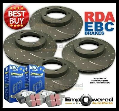 FULL SET DIMPL SLOTTED DISC BRAKE ROTORS+ PADS for Toyota Landcruiser 100 Series