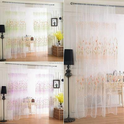 Sheer Tulle Voile Door Room Window Door Curtain Drape Panel Scarf Floral Valance