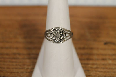 1940s Vintage Sterling Silver Arts & Crafts Girl Scout Ring Adjustable Size