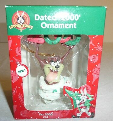 Taz The Tasmanian Devil Holiday Ornament Christmas Year 2000 Looney Tunes