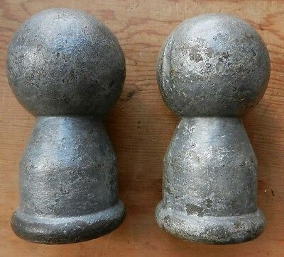 Pair of Antique / Vintage Cast Iron Canonball Finials