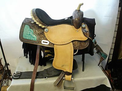 "16"" Double TT Barrel Western Saddle with Teal Alligator Print Accents."