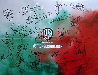 "London Irish 2016/17 Signed 16"" x 12"" Rugby Union Photo x 22 inc Franks + Court."