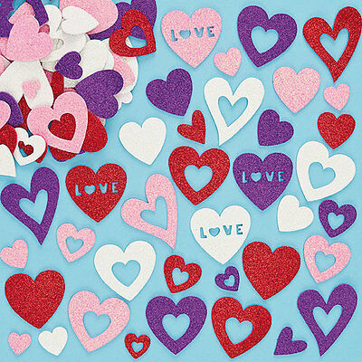 Heart Glitter Foam Stickers for Kid's Crafts & Card Making (Pack of 120)