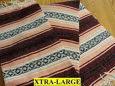 XL Maroon Salmon White Hand Made Authentic Mexican Falsa Blanket Throw Cuamatzi
