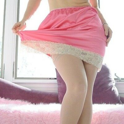 VTG Style Hand made CORAL Mini SHINY LACY SATIN 2 Tone Half Slip Skirt  OS L