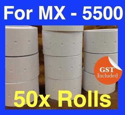 50 x Rolls PLAIN WHITE PRICE PRICING GUN TAGS LABELS PLAIN WHITE MX 5500 PWR-10