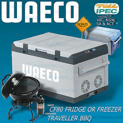 Waeco Cf80 Zone Fridge Freezer 12V 24V 240 Volt + Cover + Bonus Portable Bbq