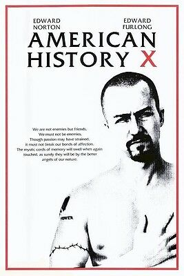 AMERICAN HISTORY X ~ HEART 24x36 MOVIE POSTER Edward Norton NEW/ROLLED!