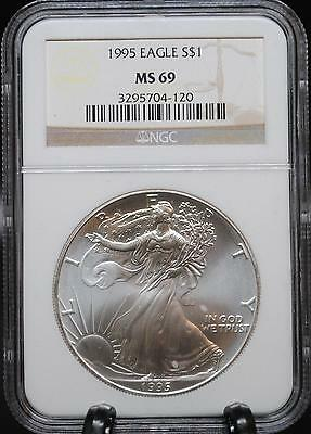 1995  American Silver Eagle  - Ms69 Ngc - Free Fast Shipping (399)