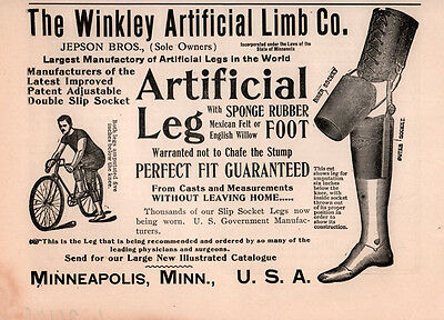 Ad Lot Of 2 1905 Ad Winkley Artificial Limb  Jepson Bros Leggs Bicyclist Fuller