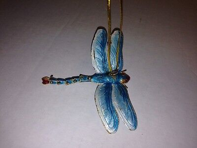 Dragonfly Hanging Ornament Articulated Cloisonne Turquoise White - 4877T