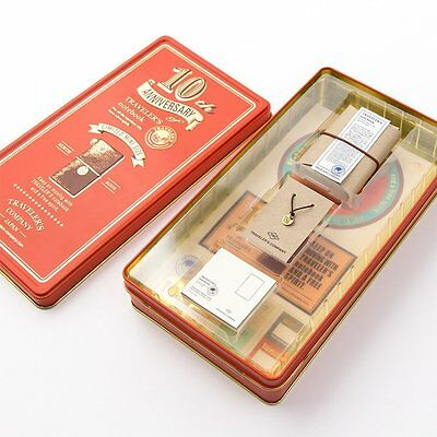 MIDORI Traveler's notebook 10th Anniversary Red Can set with Brown note Japan
