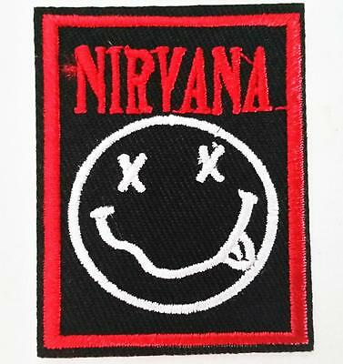 NIRVANA IRON ON EMBROIDERED PATCH MUSIC ROCK BAND 5.5cm x 4cm LEGENDS GRUNGE