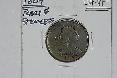 1804 Draped Bust 1/2C Half Cent Plain 4 Stemless Ch Vf