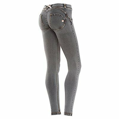 grigio-cuciture gialle (TG. XS) Freddy Pantalone Donna WR.UP Lungo Effetto Push-