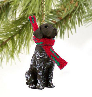 GERMAN SHORTHAIRED POINTER DOG  CHRISTMAS ORNAMENT HOLIDAY  XMAS Figurine Scarf