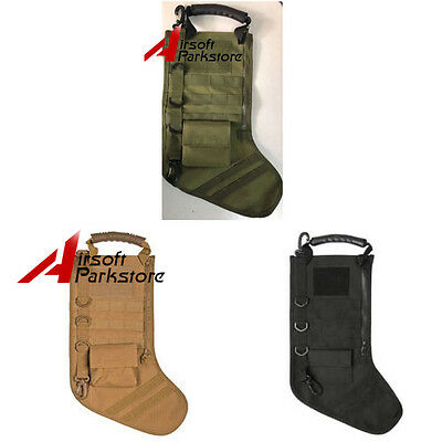 Military Tactical MOLLE Christmas Holiday Stocking Socks with Handle Gift 3color