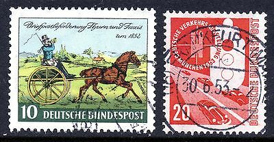 GERMAN OLD 1953 20pf EXHIBITION + 1 FREE STAMP. VF USED. CAT £12.50.  #B5007