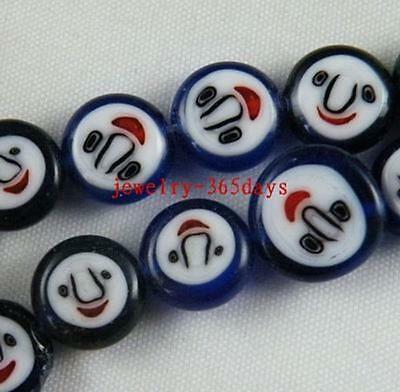 "40pcs Glass ""Laughing Face"" Mixed Flat Spacers 10mm"