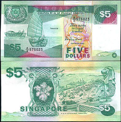 Singapore 5 Dollar P 19 Psa At Back Unc