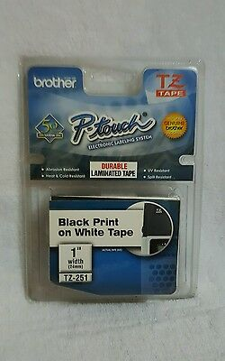 "Brother P-Touch TZ-251, 1"" Black Print on White Tape TZ Tape NEW"