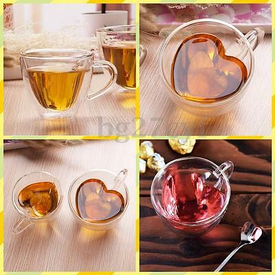 180/240ML Heart Shaped Heat Resistant Clear Glass Wine Beer Tea Cup Drinking Mug