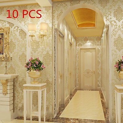 Pack of 10 Roll victorian texture embossed Damask Cream Luxury Glitter Wallpaper